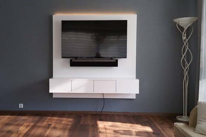 Tv Meubel Met Achterwand.Zwevend Tv Meubel Met Led Licht Meeldijk Meubelmakerij